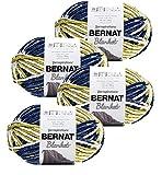 Bernat Blanket Yarn 4 Pack Big Balls Polyester Dye Lot Matched (Oceanside Blanket)
