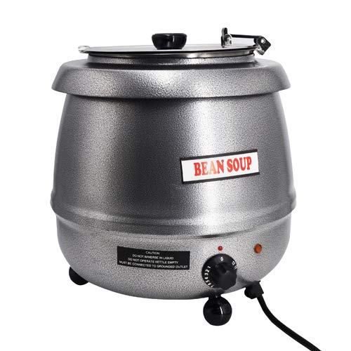 SYBO SB-6000-2G Commercial Grade Soup Kettle with Hinged Lid and Detachable Stainless Steel Insert Pot for Restaurant and Big Family, 10.5 Quarts, Silver
