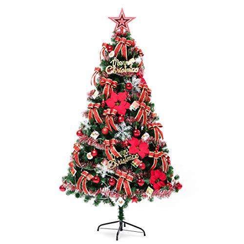 Sapin de Noël décoré artificiel, sapin de Noël entièrement vert en PVC avec ornements de décoration, arbre artificiel en sapin de 120cm / 15cm, 120cm / 150cm / 180cm / 210cm , Support en métal,1.5m