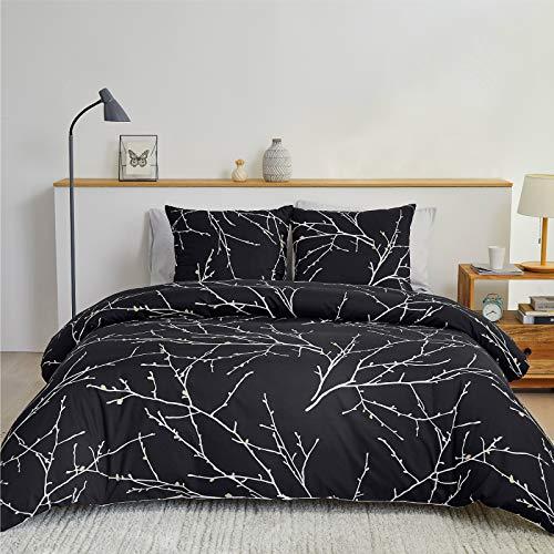 BEDSURE Bettwäsche 200x200 Baumwolle Schwarz/Beige- Bettbezug Set mit schickem Zweige Muster, 3 teilig weiche Bettbezüge mit Reißverschluss und 2 mal 80x80cm Kissenbezug