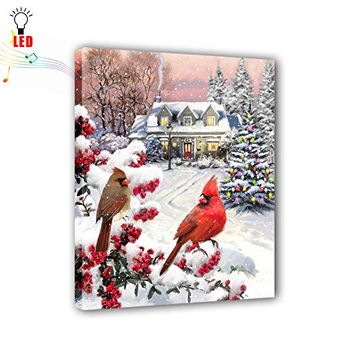 "Coming My House Led Wall Painting Art with Rhythm of Music, Cute Dog Christmas Themed Canvas Wall Pictures for Living Room,Battery Operated(15.75""X11.8"")"