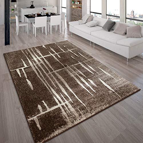 Paco Home Designer Teppich Modern Trendiger Kurzflor Braun Beige Creme Meliert, Grösse:120x170 cm
