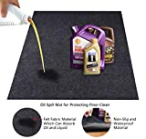 KALASONEER Oil Spill Mat,Absorbent Oil Mat Reusable Washable,Contains Liquids, Protects Driveway Surface,Garage or Shop,Parking,Floor(36inches x 60inches)