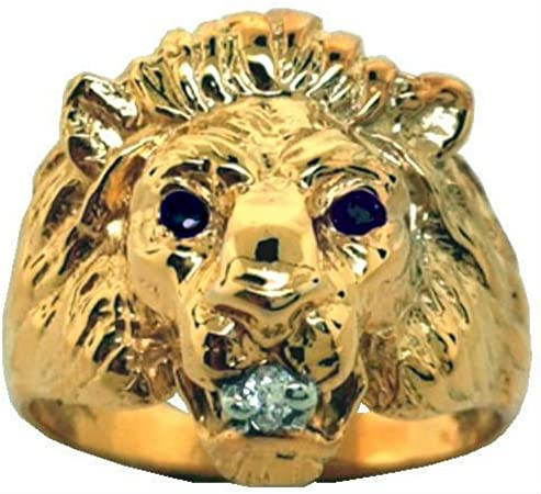 RYLOS Mens Rings 14K Yellow Gold Sapphire Diamond Lion Head Ring Band Rings For Men Mens Jewelry product image