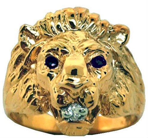 Diamond & zafiro pendientes de anillo de cabeza de león de plata o de oro chapado en plata