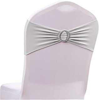 ASPIRE 10 PACK Wedding Chair Sashes Stretch Cover Bands with Buckle Spandex Slider Sashes Bows for Party Decoration-Silver