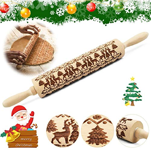Yuson Girl Weihnachten Teigroller Nudelhölzer für hausgemachtes Gebäck Weihnachten Teigrolle Gravierte Schneeflocke Elch Prägerolle Holz Backzubehör für Weihnachten DIY Küche Lebkuchen Plätzchen