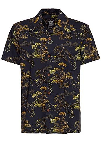 King Kerosin Herren Kurzarm Hemd | Hawaiihemd | Straight Fit | Mambohemd | All-Over Print Asian Tiger