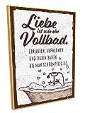 HARIZ Holzschild mit Spruch Liebe Ist Wie EIN Vollbad Liebe Freundin Vintage Plus Geschenkkarte 19 * 28cm