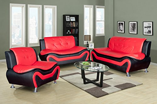 Beverly Fine Furniture Aldo ((3 Piece) Modern Sofa Set, Black/Red