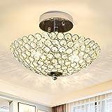 Depuley, lampada da soffitto a LED, lampadario di cristallo, lampada da soffitto in design moderno con cristalli sintetici, per soggiorno, camera da letto, lampadina non inclusa