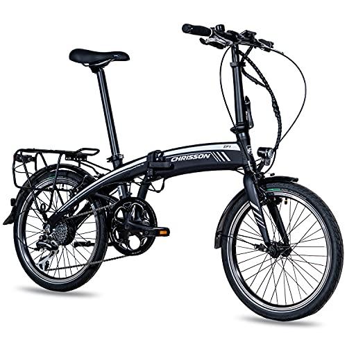 CHRISSON 20 Zoll E-Bike City Klapprad EF1 schwarz - E-Faltrad mit Ananda Nabenmotor 250W, 36V und 40 Nm, Pedelec Faltrad für Damen und Herren, praktisches Elektro Klappfahrrad, perfekt für die Stadt