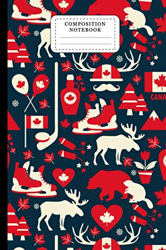 Hockey Composition Notebook: Canada Hockey College Ruled Lined Paper Writing Journal For School Supplies, Elementary, High School And College. Hockey Lover Gifts 6x9