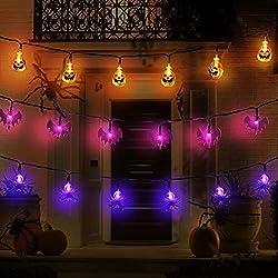 MAOYUE Halloween Lights Outdoor Halloween String Lights 3Pack 29.6ft 60 LED Pumpkin Spider Bat String Lights Battery Operated 8 Lighting Modes for Halloween Decorations Outdoor, Indoor, Porch