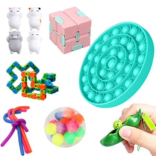 13er Anti Stress Spielzeug Set Fidget Toy Kinder Erwachsene,1*Fahrradkettenbahn+1*Gobbles Sticky Ball+4*Kawaii Katze Squeeze+1*Ultimate Figdet Cube+1*Push Pop Pop Bubble+4*Seil+1*Drücken Sie Erbsen
