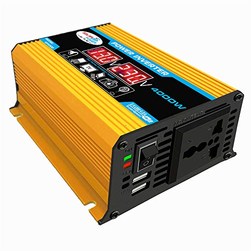 MSG ZY Inversor de Corriente de 300 W Convertidor de CC de 12 V a CA de 110 V/CC de 12 V a CA de 220 V con Cargador de Coche Dual USB de 4.8 A listado,Yellow