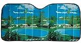 Cartrend 95109 Protector solar de aluminio con con impresión de adorno de colores - proteje del calor y los rayos solares