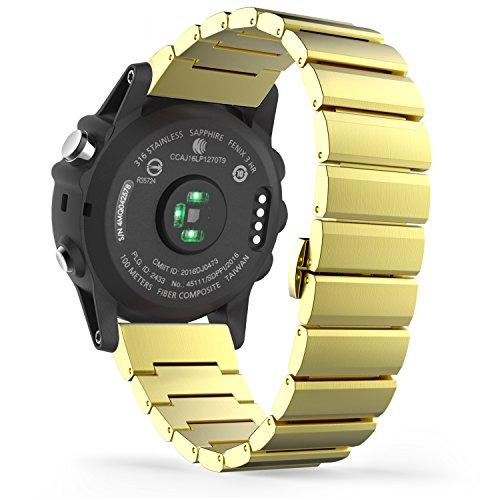 MoKo Garmin Fenix 3 / Fenix 3 HR Correa de Reloj, Pulsera del Metal del Acero Inoxidable Reemplazo del con el Doble Botones Plegable - Negro