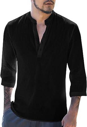 Gemijacka Camisa de lino para hombre, camisa informal Henley, manga 3/4, corte regular, sin cuello