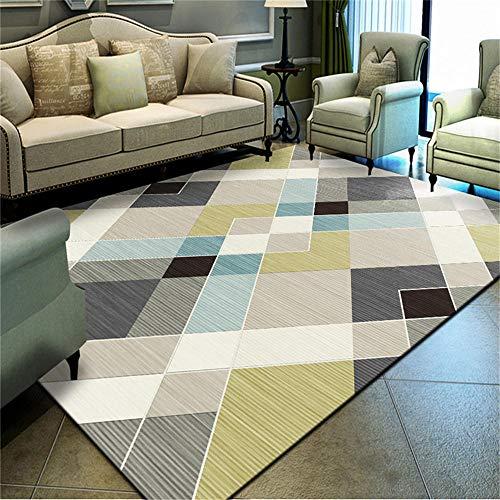WQ-BBB Alfombra Salon Grande Elegante Elegante diseño geométrico a Rayas Azul Gris Blanco Negro Dormitorio La Alfombrae 140X200cm