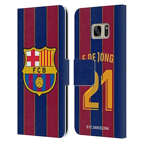 Head Case Designs Licenciado Oficialmente FC Barcelona Frenkie de Jong 2020/21 Players Home Kit Group 1 Carcasa de Cuero Tipo Libro Compatible con Samsung Galaxy S7