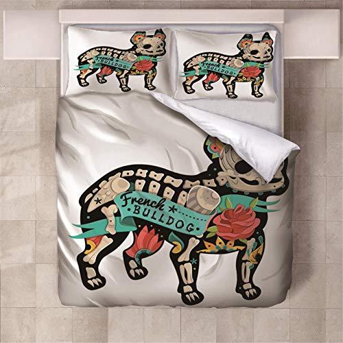 Fundas Nórdica Cama Bulldog francés 3D Estampado Juego de Ropa de Cama Fundas Edredón Nórdico Microfibra Niños Adultos 200x200cm con 2 Fundas de Almohada