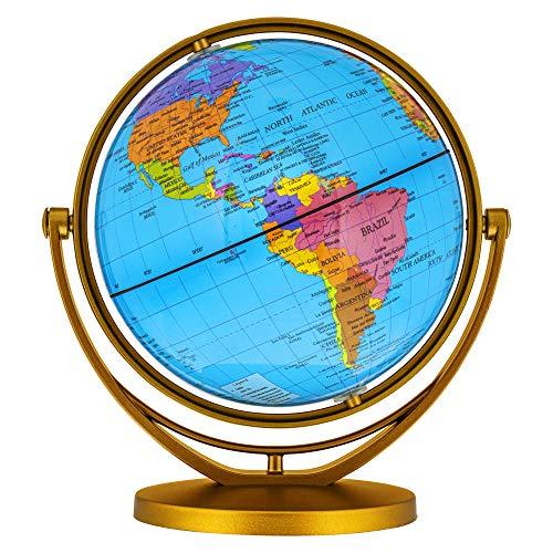 TCP Global 6' Blue Ocean World Globe with Gold Base - Compact Mini Political Globe, 720° Rotation - Fun & Educational, Learn Earth's Geography - Kids, Home, School, Office, Shelf, Desktop Display