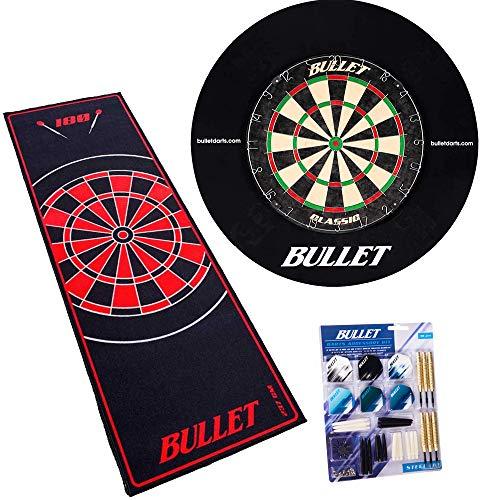 BULLET-Darts Großes Dart Turnier Set, Dartboard aus Brasilianischen Sisal, 90 teiligem Steeldarts-Set, Surround Ring und einem professionellem Teppich - Rot/Rot