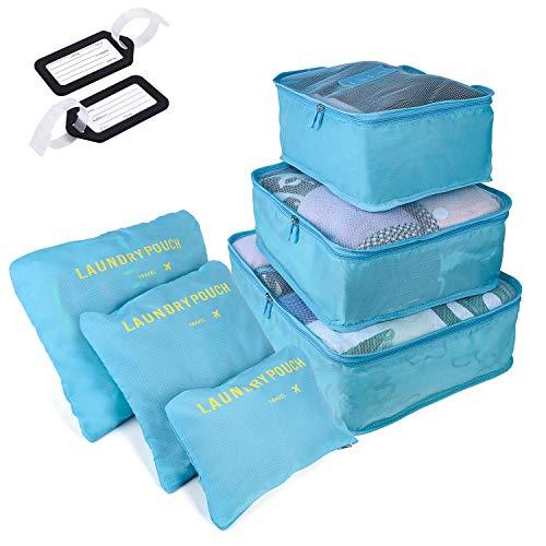 6 PCS Organizadores de Viaje para Maletas, Bolsas de Equipaje Impermeable Cubos Embalaje de Viaje Bolsas de Almacenamiento para Ropa Zapatos, Cosméticos Accesorios, Material Nylon (Azul Claro)