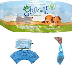 Gluvlt 2 in 1 Dog Waste Bags, Poop Bags with Clean and Easy Handle Ties. #1 Dog Pickup. Fits All Hand Sizes. Once You Try it, You ll Will Love it! Eco-Friendly - 100% Recyclable - No Mess, No Fuss.