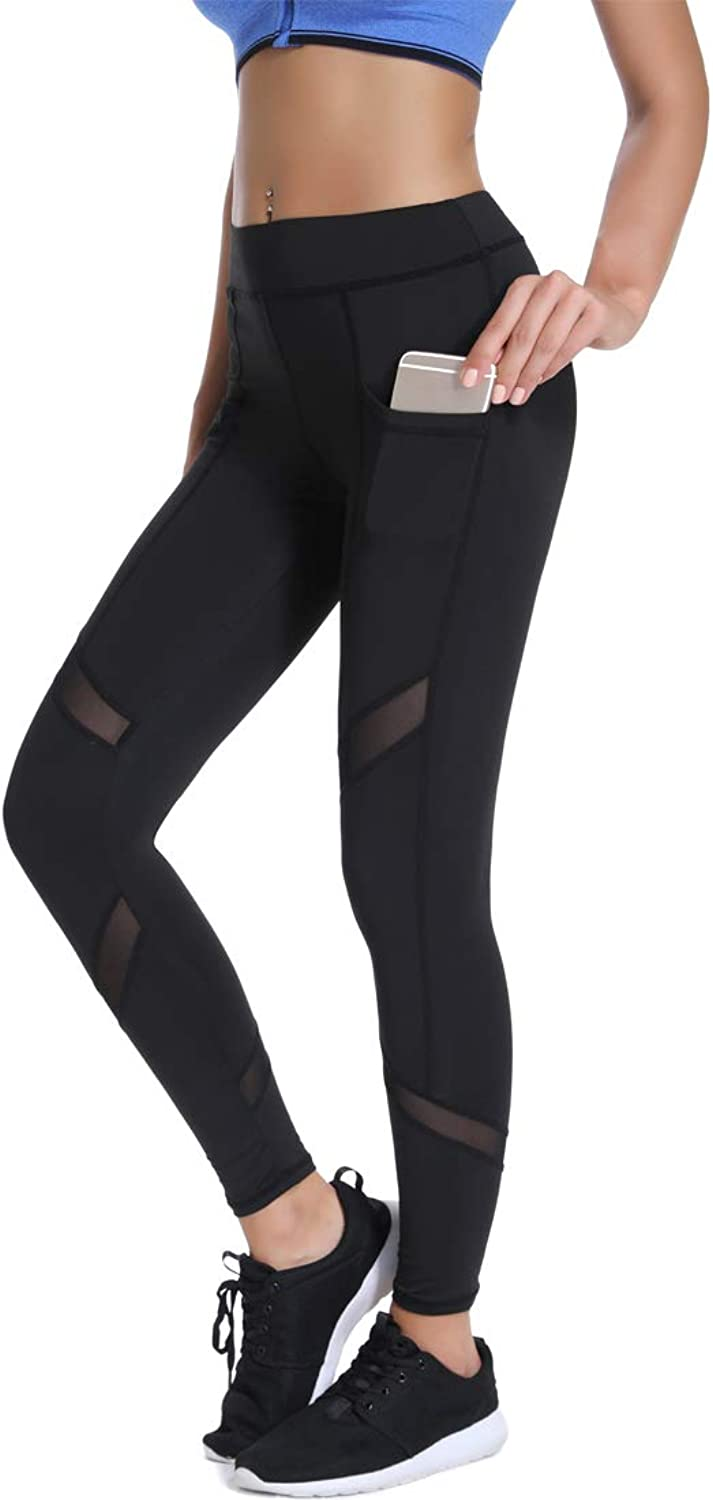 Joyshaper High Waisted Leggings with Pockets for Women Legging with Mesh Cutouts Workout Yoga Pants