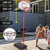 Panier de Basket sur Pied - Hauteur Réglable 113-236 cm, avec roulettes, pour Enfants et...
