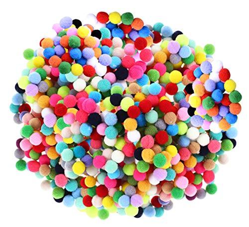 Bunte Pompom, Pompons zum Basteln, 1200 Stücke 1 cm Pom Poms Kunst Handwerk, Bommeln Flauschigen Pompons, Plüsch Bälle für Hobbybedarf und kreatives Basteln DIY Kreativen