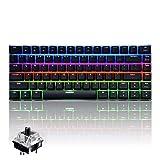 UrChoiceLtd Ajazz AK33 Mécanique Gaming Clavier Anti- Ghosting Multimédia USB ergonomique Clavier avec 82 clés LED RVB Noir rétro-éclairé Commutateur (Interrupteur noir, LED RVB)