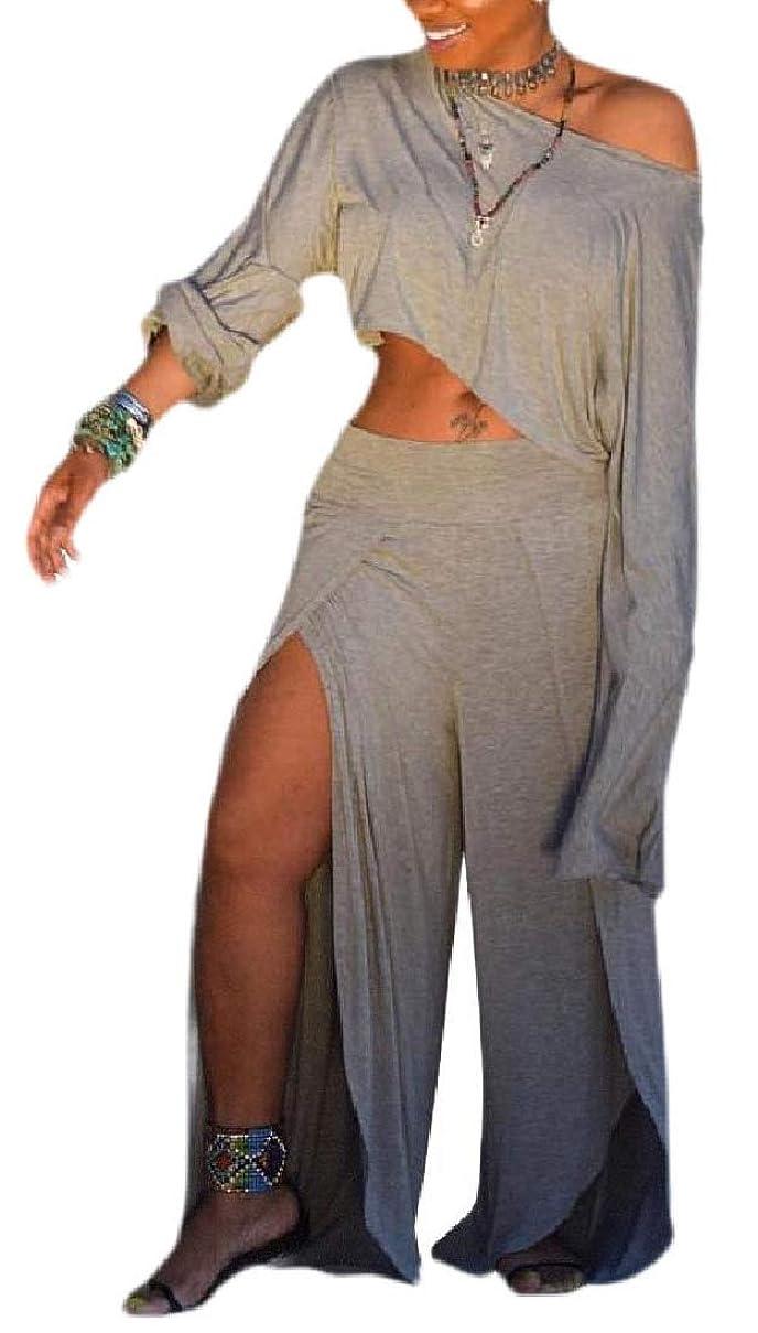 吐き出す気取らない書き出すWomen Casual Two Piece Outfits One Shoulder Crop Top Wide Leg Long Pants Set