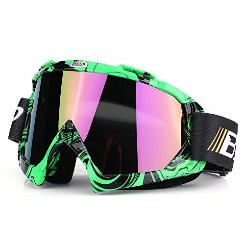 Qiilu Motocross Brille, Motorrad Motocross Off Road Dirt Bike Racing Goggles Brille Augen Schutz(Green Colorful)