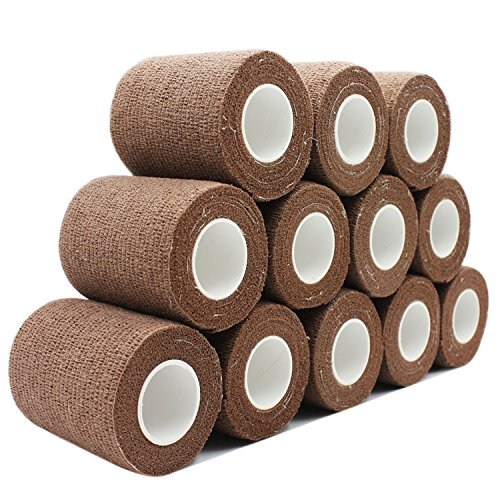 COMOmed Cohesive Bandage Flexible Bandage Self-adhesive Bandage Roll Latex-free Non-woven Cohesive Athletic Tape Alleray tested Suitable for Sensitive Skin 7.5cm x 4.5m 12 Rolles Brown
