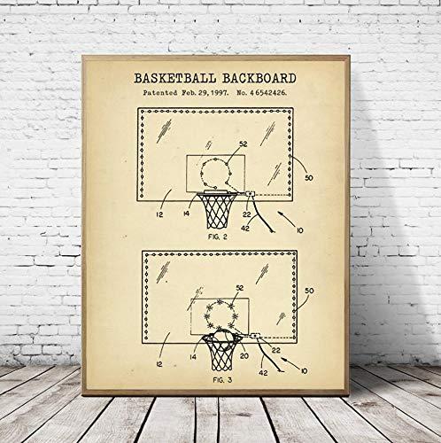 Pallacanestro Tabellone Brevetto Cianografia Poster e stampe vintage Regali di pallacanestro Pittura su tela Camera dei ragazzi Wall Art Decor 24x32 pollici (60x80 cm)