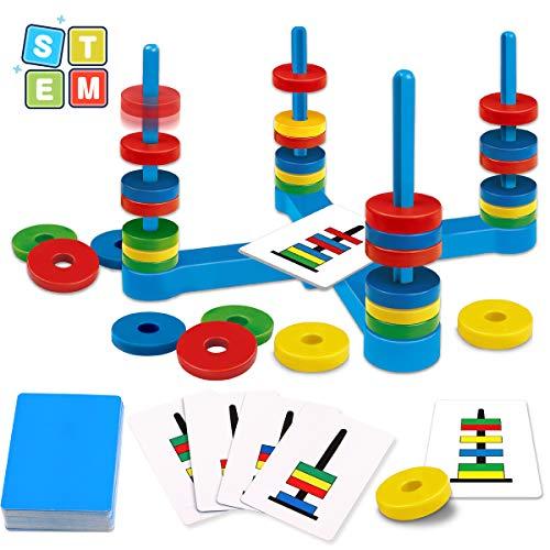 Giobaby, gioco da tavolo educativo per bambini con carta colorata e anello magnetico, gioco per bambini da 3, 4, 5, 6 e 7 anni