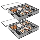 SOLEDI Under Bed Shoes Storage - 2 Pack, Adjustable Dividers, Under Bed Closet Fabric Storage Organizer Box Container Holder for Kids & Adults (Men & Women) Shoes - Gray
