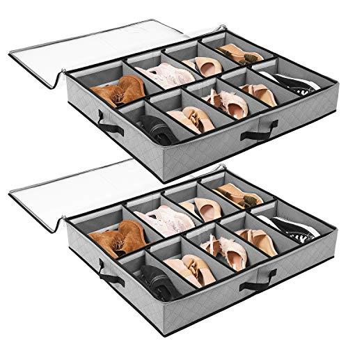 SOLEDI Cajas Almacenaje para Almacenamiento de Zapatos y Artículos Diversos Etc Puede Guardar Debajo la Cama y en La Parte Superior del Armario, con Una Ventana Transparente, 2 Pcs