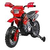 homcom Moto Cross Elettrica con Rotelle Rosso per Bambini 3 Anni e più 102...