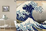 JUAN Cortina de baño Impermeable Todo Tipo de Ondas Gigantes Digitales Tinta Pintura Color Elefante Piscina Rana Impermeable, 165 * 180 cm, Olas enormes