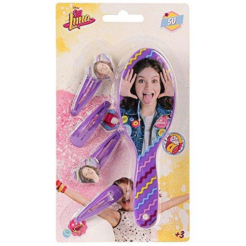 Compatible avec Brosse + 4 barrette Disney Soy Luna enfant violet barette