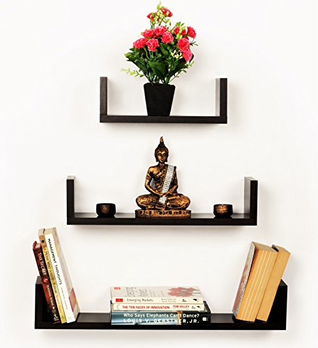 Bluewud Caesar Set of 3 Wall Shelves (Wenge)