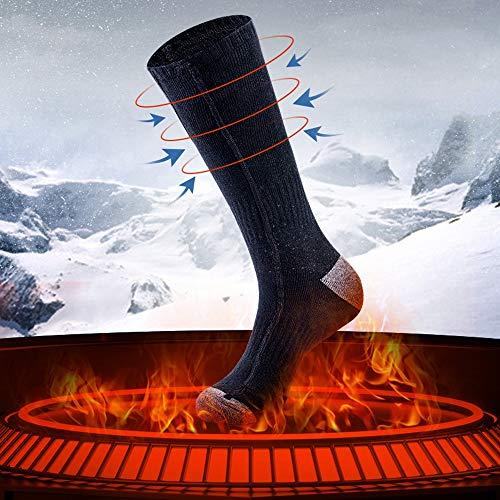 AUED Beheizte Socken, Wiederaufladbare Heizung Socken Heizung warme Socken elektrisch beheizt Socken Warm Fuß Artifact, Winter im Freien Ski Jagd Camping,Schwarz,B