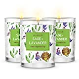 MAGNIFICENT 101 Pure Sage + Lavender Smudge Set of 3 Candles for House Energy Cleansing, Banish Negative Energy I Purification and Chakra Healing - Natural Soy Wax Candles for Aromatherapy
