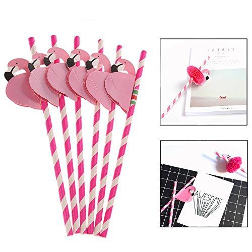 Jzhen 50 stuks flamingo papieren rietjes, decoraties voor cocktail bruiloft verjaardag party