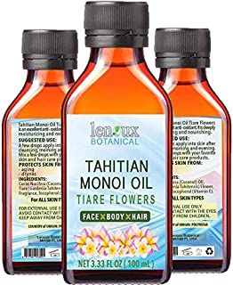 TAHITIAN MONOI OIL TIARE. Moisturizing, Toning, & Anti Aging Benefits. For Face & Body, Hair, Lip and Nail Care. 3.33 Fl.oz.- 100 ml.