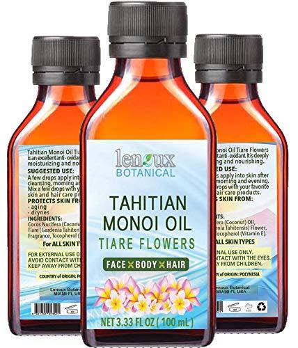 Tahitian Monoi - Tiara de aceite. Hidratante, tonificación, beneficios antienvejecimiento. Para cara y cuerpo, pelo, labios y cuidado de las uñas. 3.33 Fl.oz.- 100 ml.